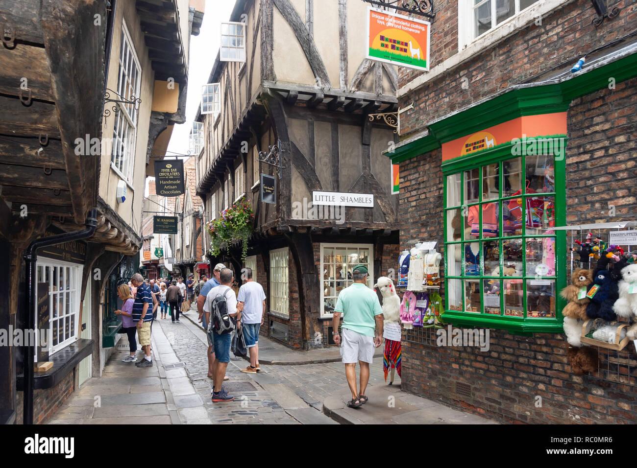 'The Shambles' medieval street, Newgate, York, North Yorkshire, England, United Kingdom Stock Photo