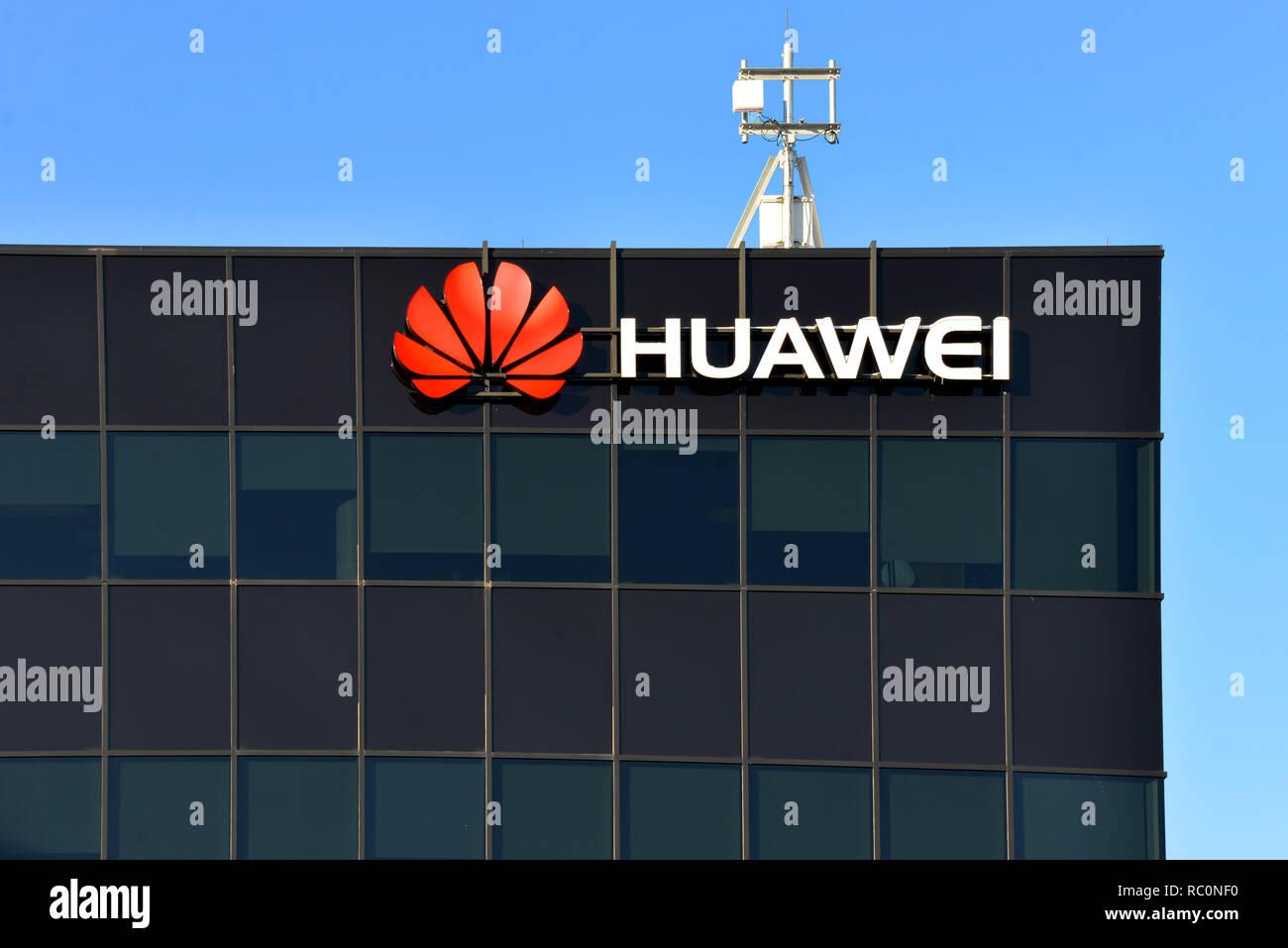 Kanata, Canada - January 12, 2019: Huawei Ottawa Research & Development Centre on Terry Fox Road. The Chinese multinational telecommunications equipme - Stock Image