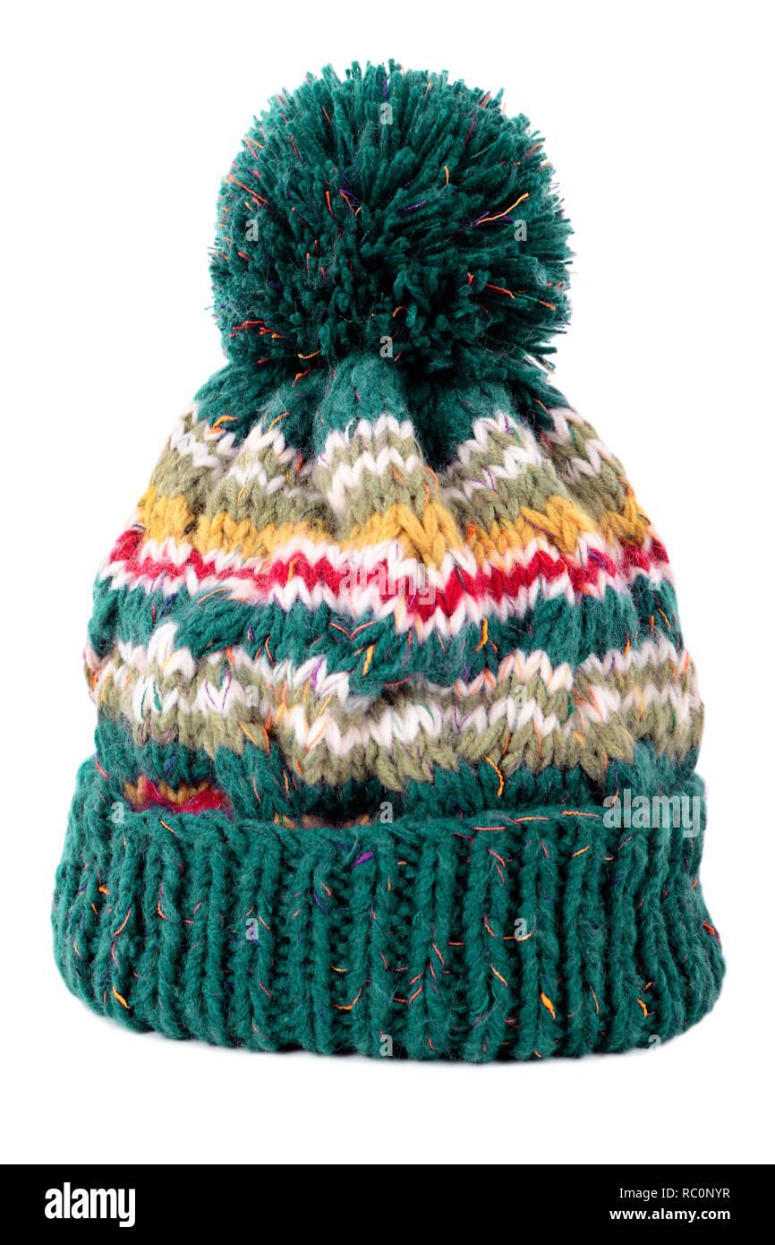 88a81f2925b Green winter ski bobble hat isolated white background Stock Photo ...