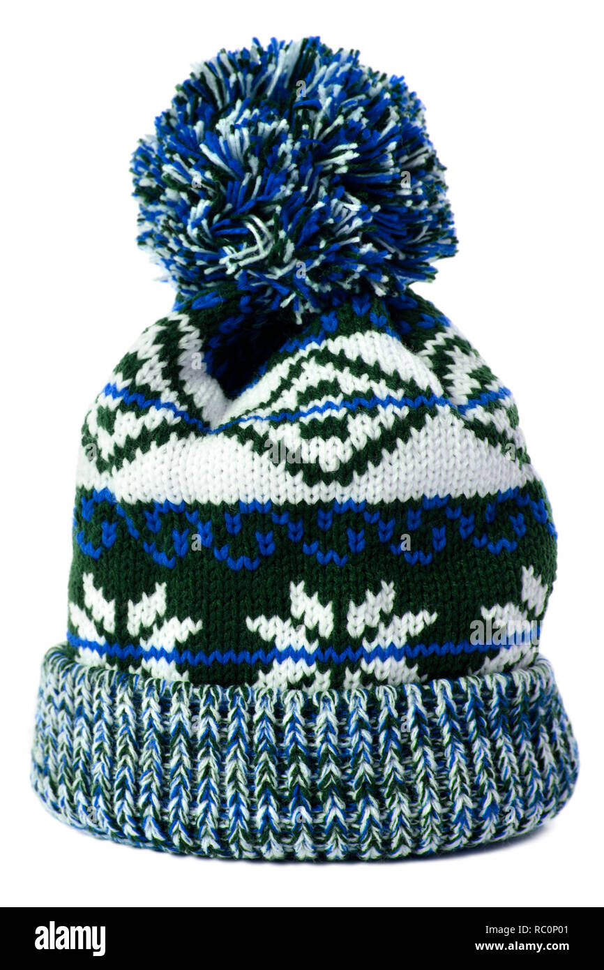 a0a23dc5fb3 Blue snowflake pattern winter ski bobble hat isolated Stock Photo ...