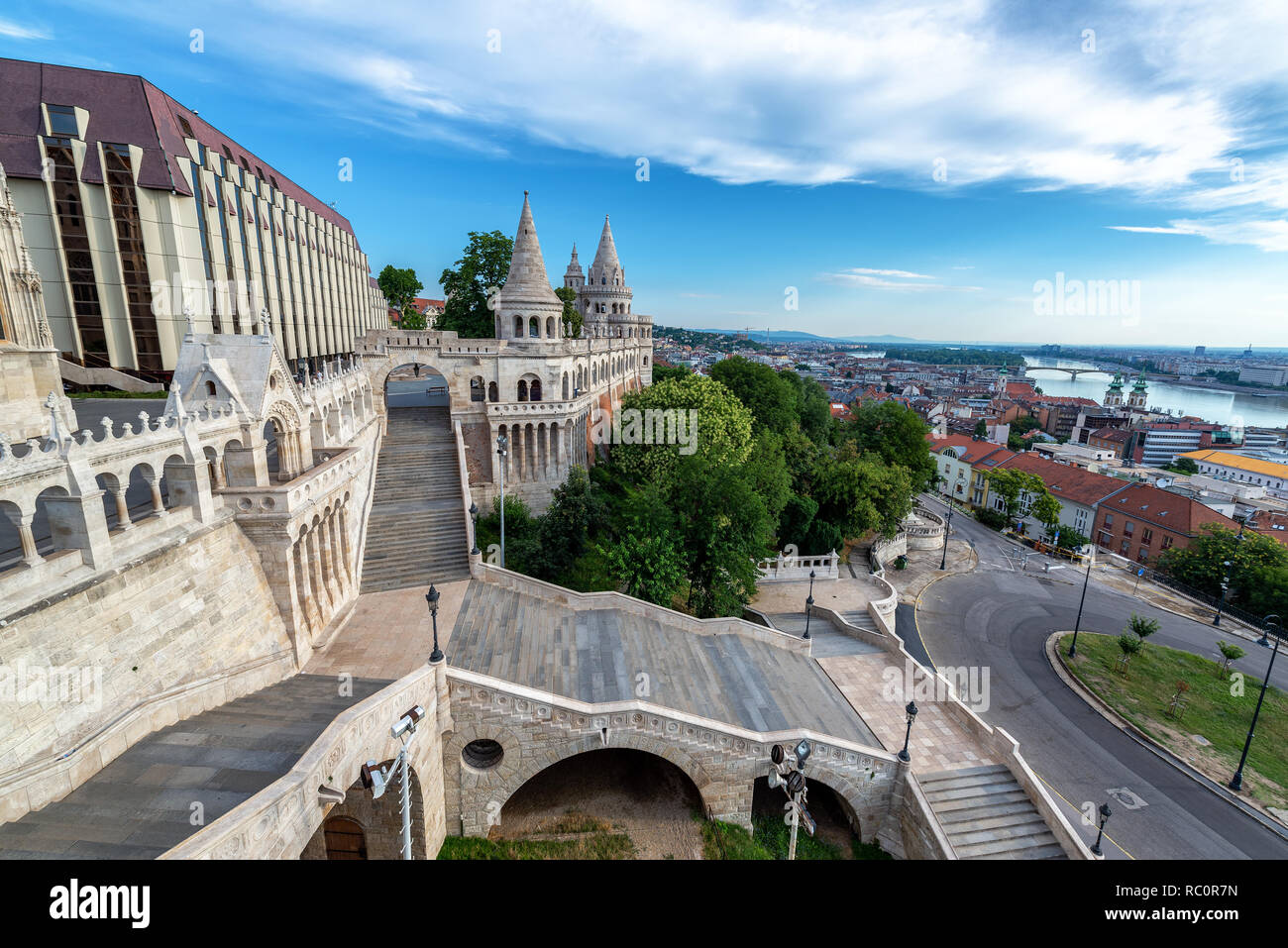 Cityscape view of Budapest, Hungary and Fishermans Bastion - Stock Image