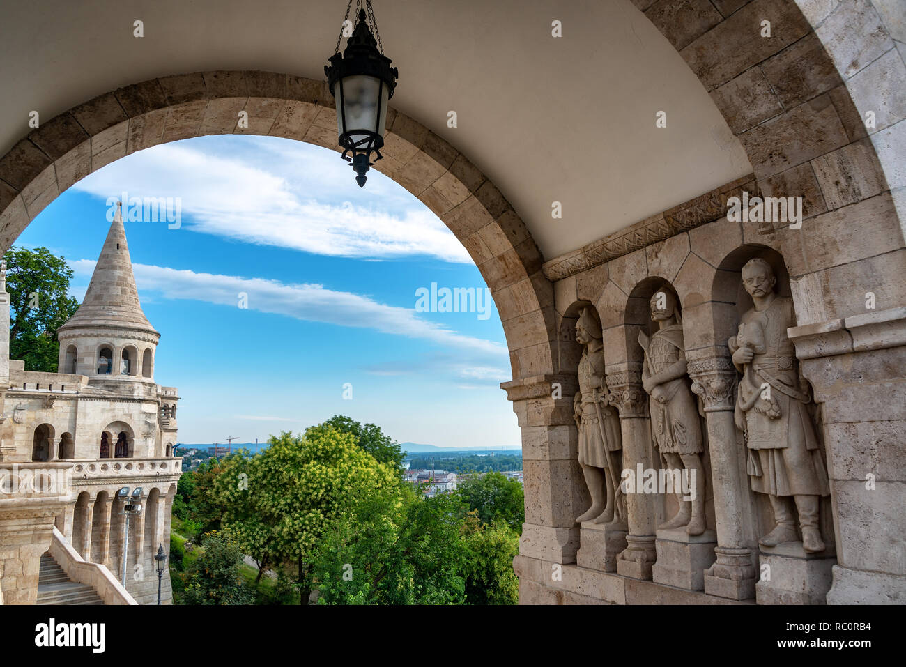 Statues decorating Fishermans Bastion in Budapest, Hungary Stock Photo