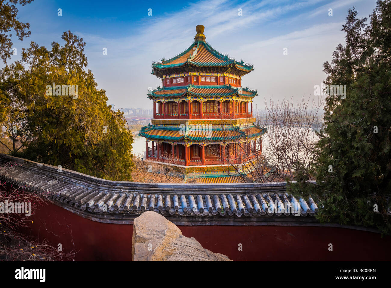 The Summer Palace (Chinese: 頤和園), is a vast ensemble of lakes, gardens and palaces in Beijing. It was an imperial garden in the Qing Dynasty. Mainly d Stock Photo