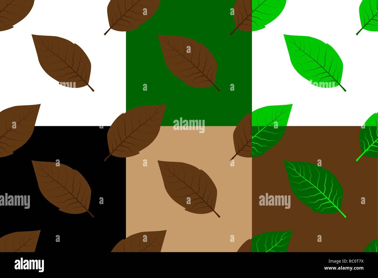Tobacco leaf seamless pattern, Tobacco leaves (white, black, brown, green) background set, - Stock Vector