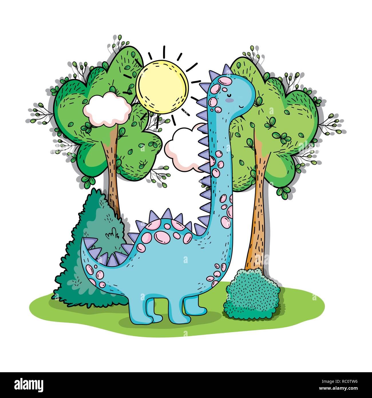 brontosaurus prehistoric dino animal with trees - Stock Image