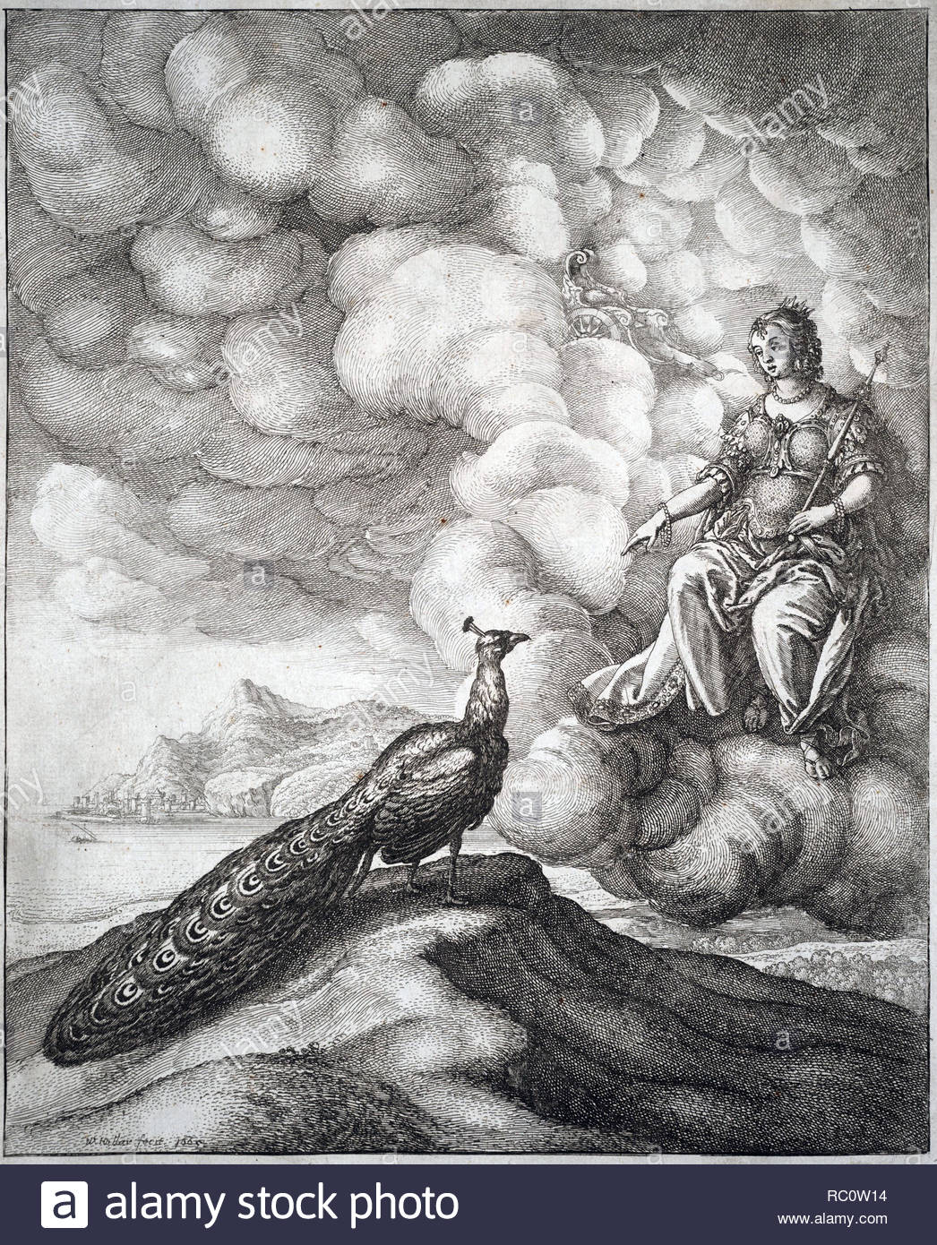 Juno was an ancient Roman goddess, the protector and special counselor of the state. A daughter of Saturn, she is the wife of Jupiter and the mother of Mars, Vulcan, Bellona and Juventas, her sacred animal was the peacock. Etching by Bohemian etcher Wenceslaus Hollar from 1600s - Stock Image