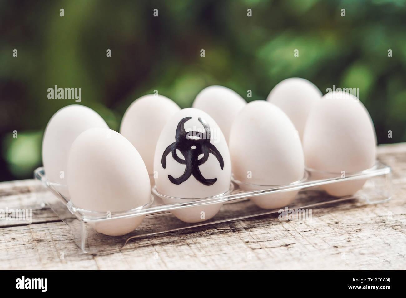 Sign of bio-hazard on the egg. The concept of disease. Avian influenza, salmanese.. - Stock Image