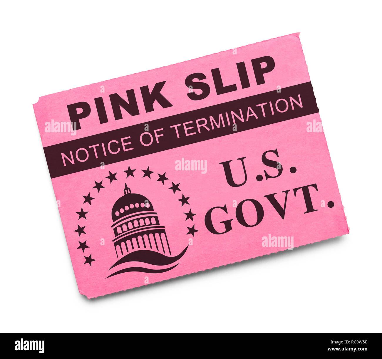 US Government Pink Slip Notice of Termination Isolated on White. - Stock Image