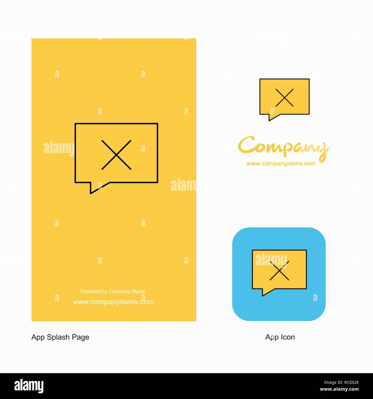 Message not sent Company Logo App Icon and Splash Page Design. Creative Business App Design Elements - Stock Image