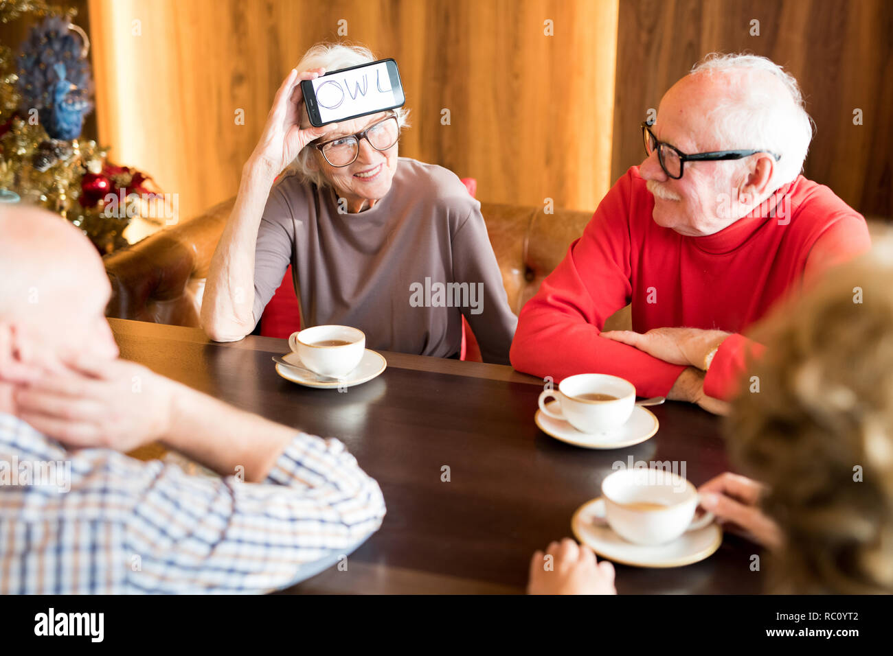 Smiling senior lady playing word-guessing game with best friends - Stock Image