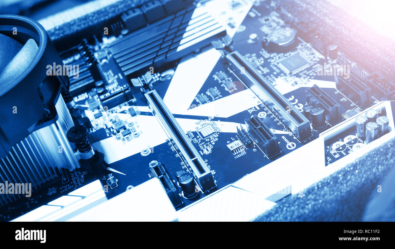 Circuit board. Electronic computer hardware technology. Motherboard digital - Stock Image
