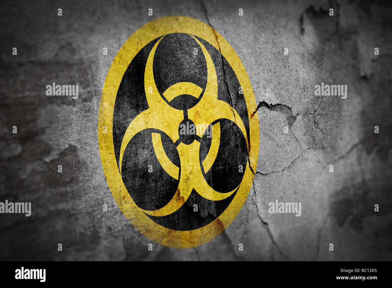 grunge biohazard symbol - Stock Image