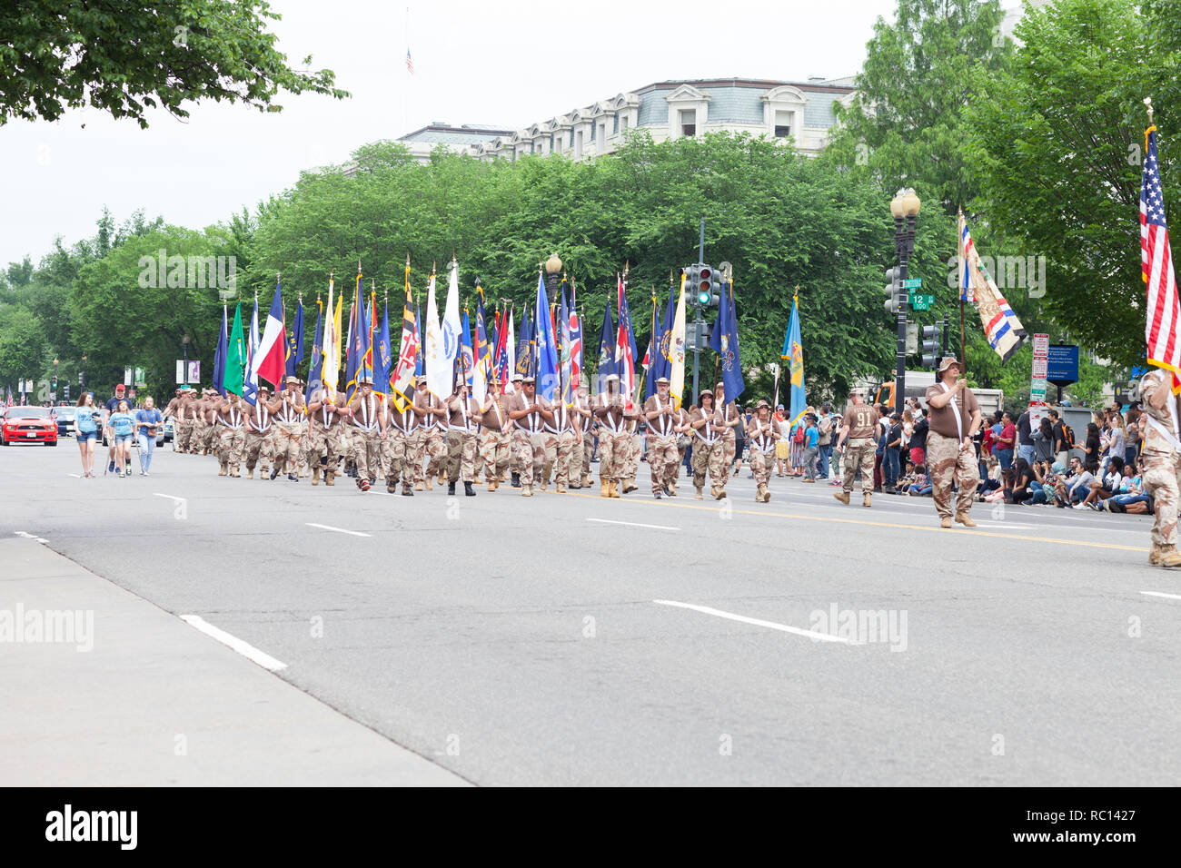 Washington, D.C., USA - May 28, 2018: The National Memorial Day Parade, Veterans of Operation Desert Storm, marching down consitution Avenue - Stock Image
