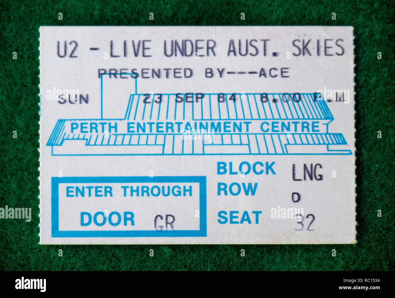 Ticket for U2 concert at Perth Entertainment Centre in 1984 WA Australia. - Stock Image