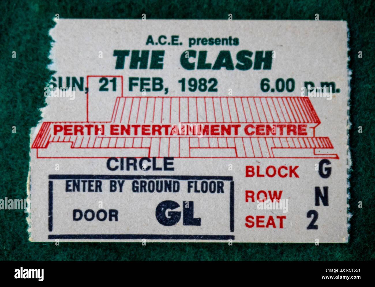 Ticket for The Clash concert at Perth Entertainment Centre in 1982 WA Australia. Stock Photo