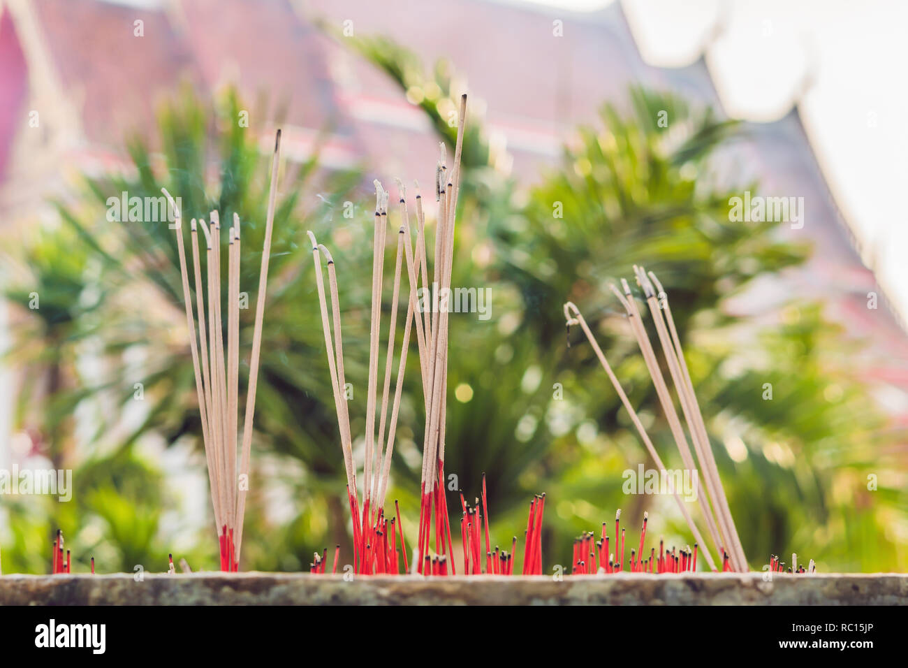 Smell the smoke of Incense, The smoke of joss stick in temple, smoke