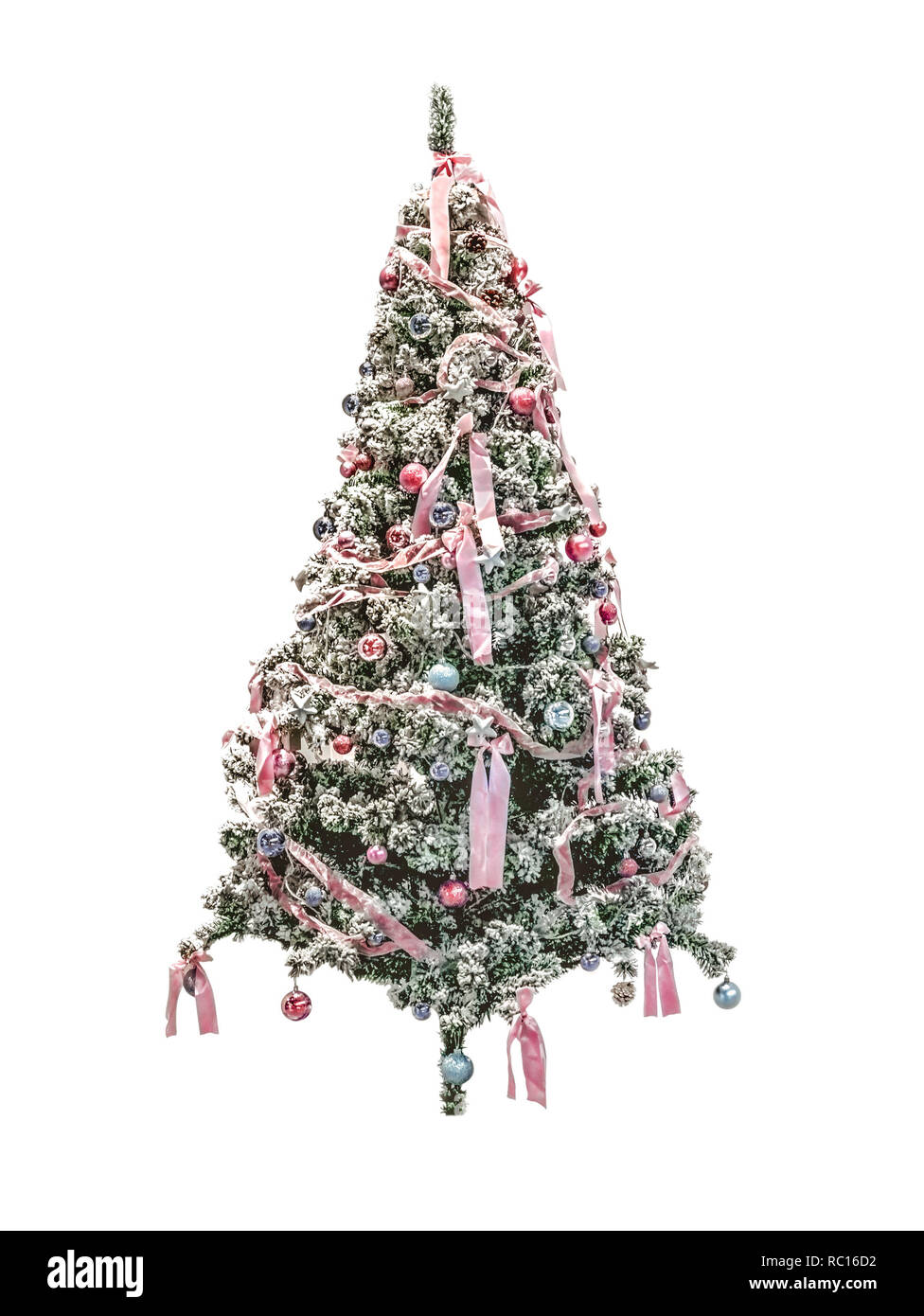 Christmas Tree Bows White.Christmas Tree With Bows And Balls As Decor For Celebrating