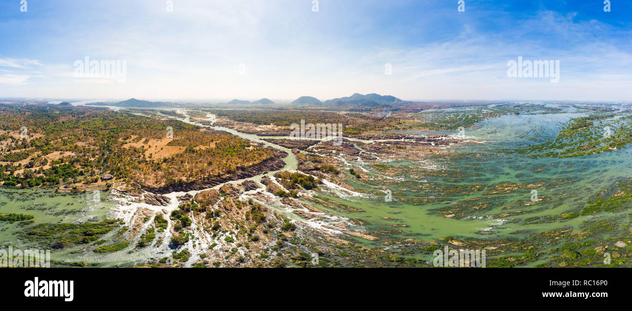 Aerial panoramic 4000 islands Mekong River in Laos, Li Phi waterfalls, famous travel destination backpacker in South East Asia Stock Photo