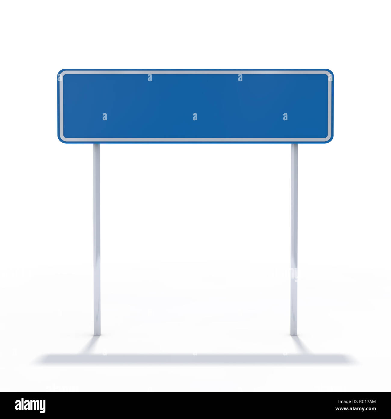 Blank blue road sign or Empty traffic signs. 3D rendering - Stock Image