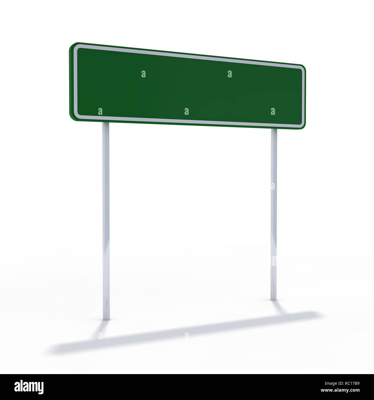 Blank green road sign or Empty traffic signs. 3D rendering - Stock Image
