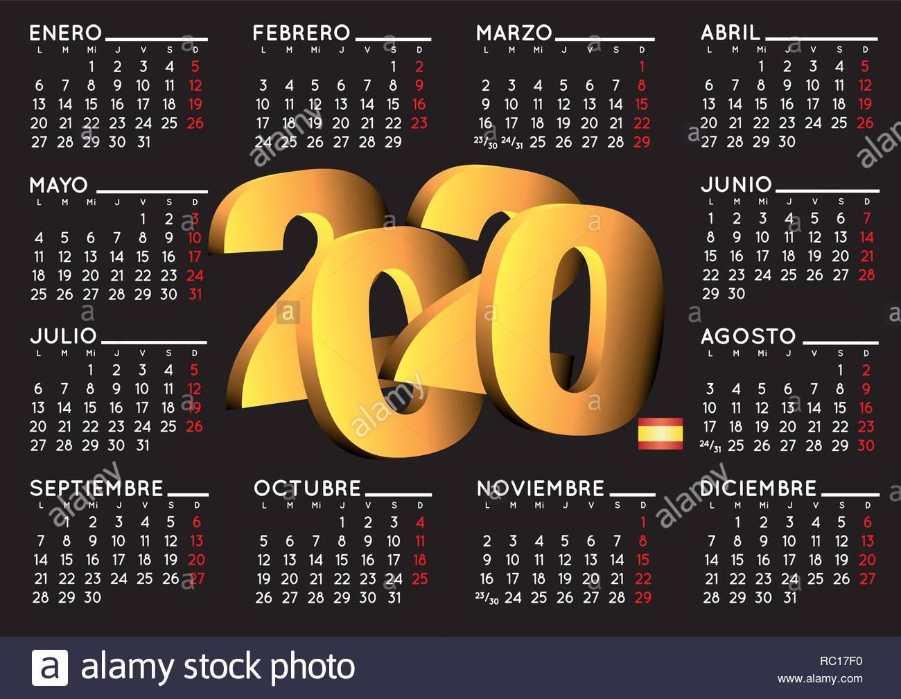 Calendario 2020 Chile Vector.Calendario 2020 Stock Photos Calendario 2020 Stock Images