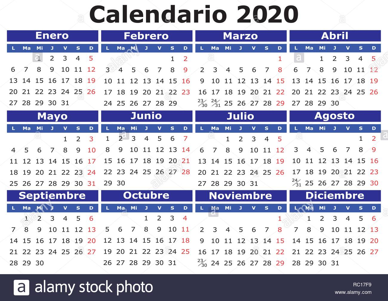 Calendario Verticale 2020.2020 Vector Calendar In Spanish Easy For Edit And Apply