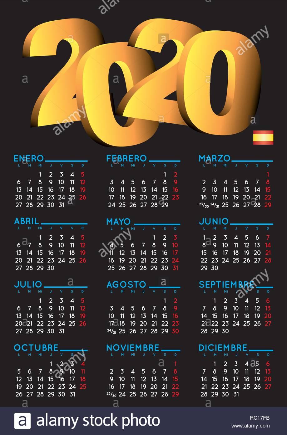 Vector De Calendario 2020.Spanish Calendar 2020 Year 2020 Calendar Calendar 2020