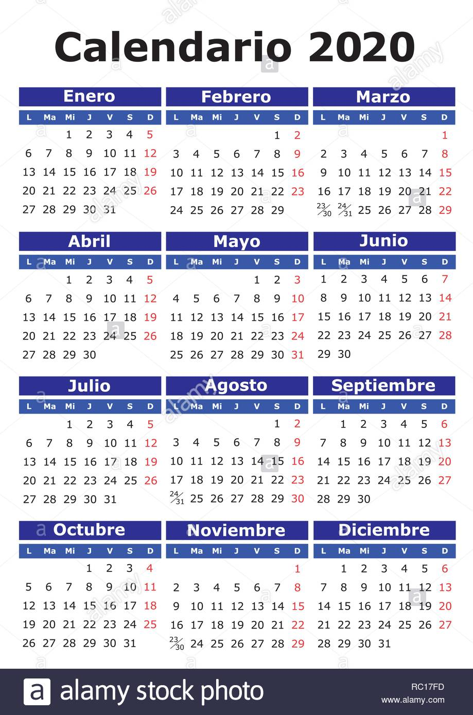 Calendario 2020 2020.2020 Vector Calendar In Spanish Easy For Edit And Apply
