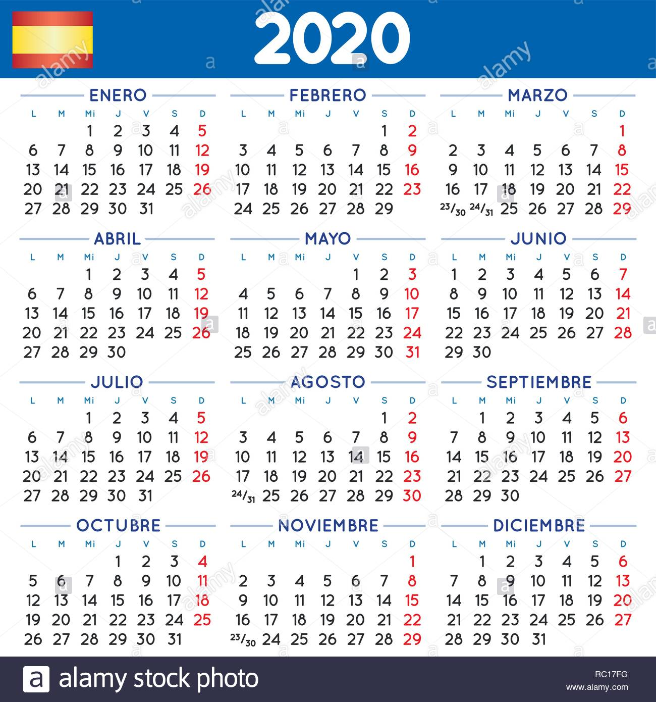 Calendario 2020 2020.2020 Elegant Squared Calendar In Spanish Year 2020 Calendar