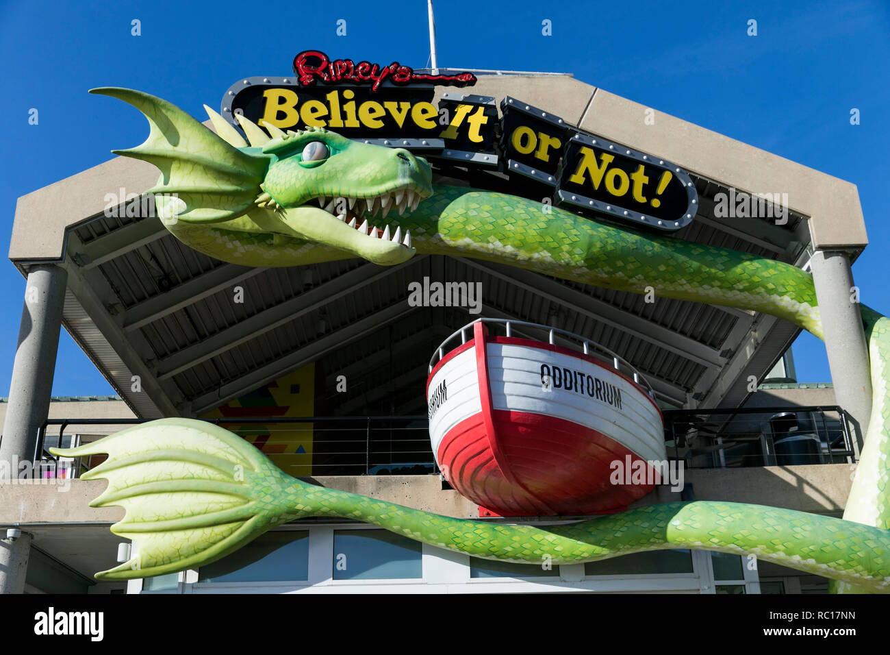 A logo sign outside of a Ripley's Believe It or Not location in Baltimore, Maryland on January 11, 2019. - Stock Image