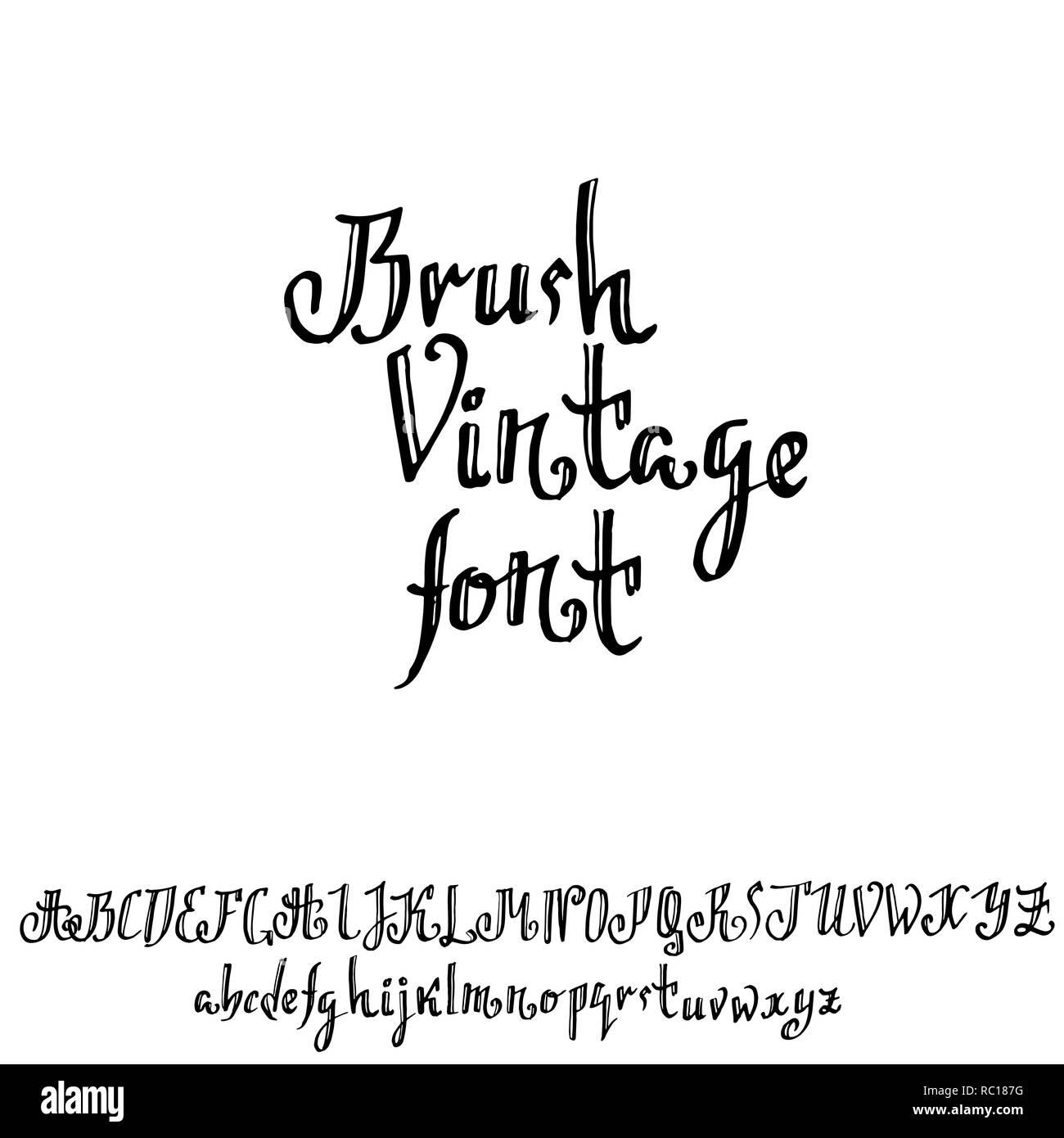 Grunge old pen gothic font  Blackletter script  Vector illustration