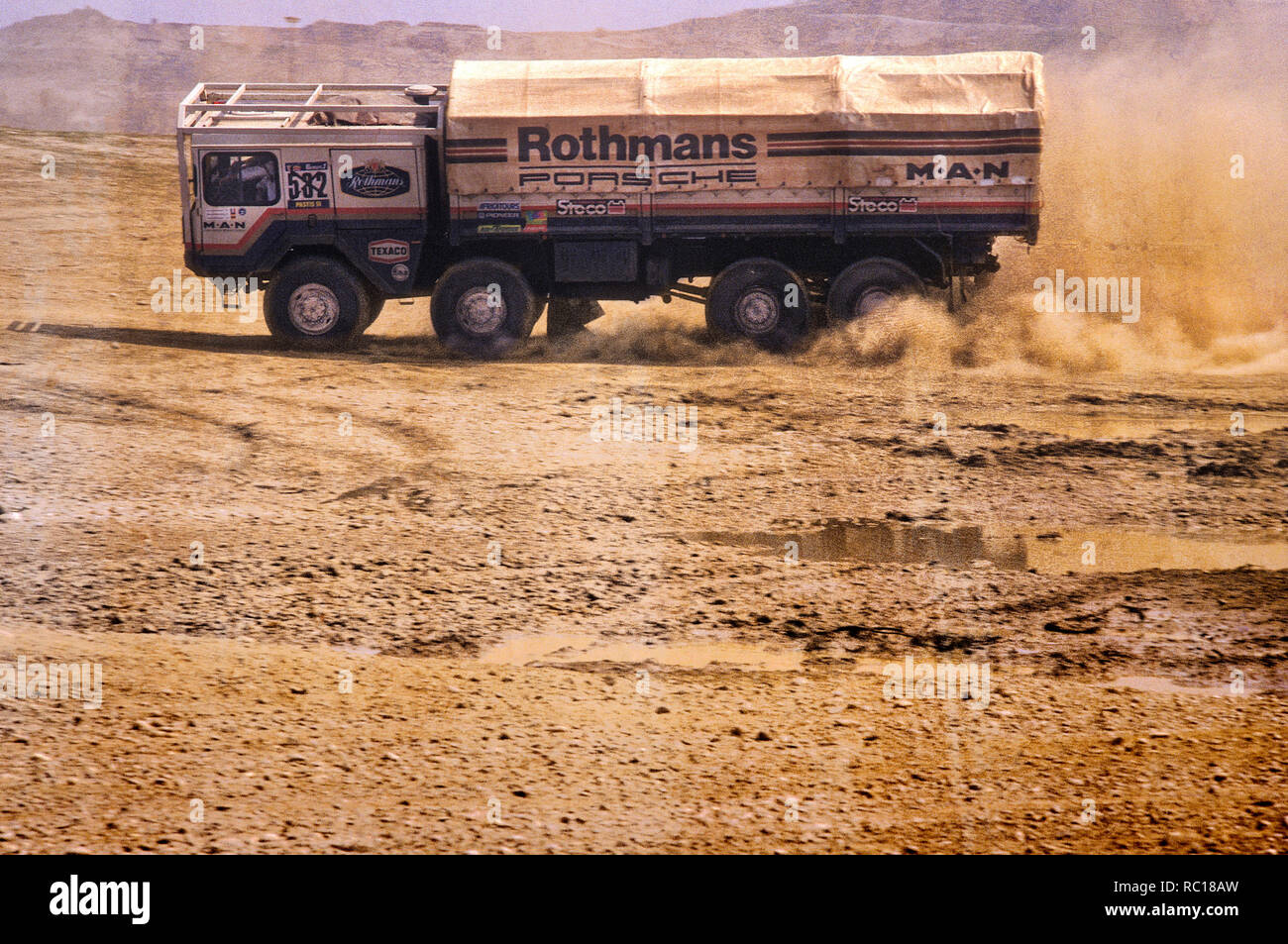 1984 M.A.N Dakar Rally Rothmans Porsche Rally raid support truck. Stock Photo