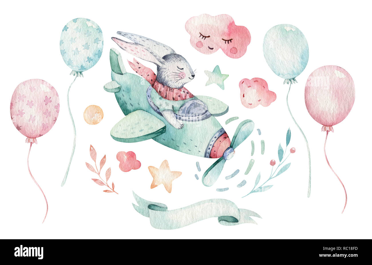 Hand Drawing Fly Cute Easter Pilot Bunny Watercolor Cartoon
