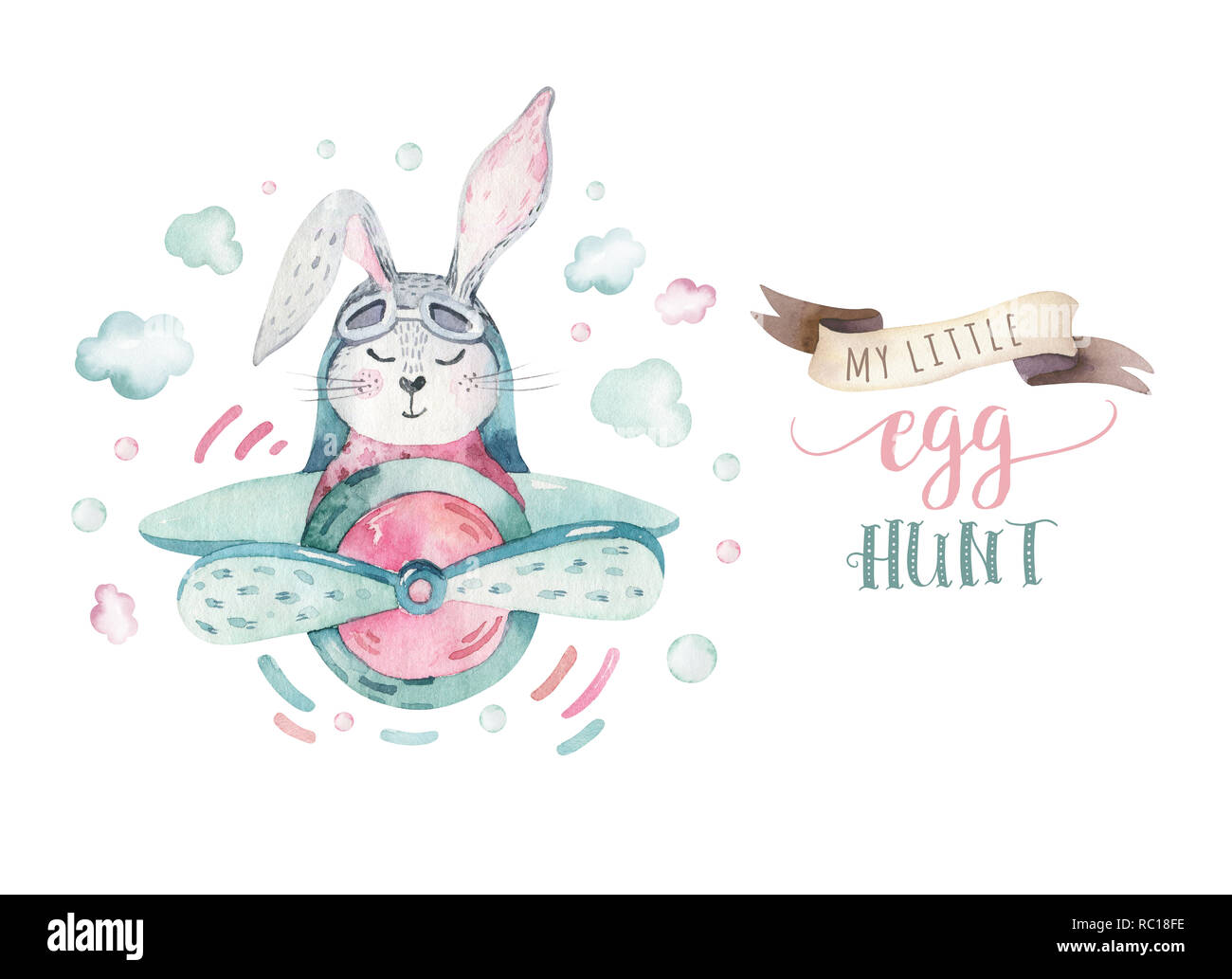 Hand Drawing Fly Cute Easter Pilot Bunny Watercolor Cartoon Bunnies With Airplane In The Sky Turquoise Watercolour Animal Rabbit Flying Art Flight Illustration Stock Photo Alamy