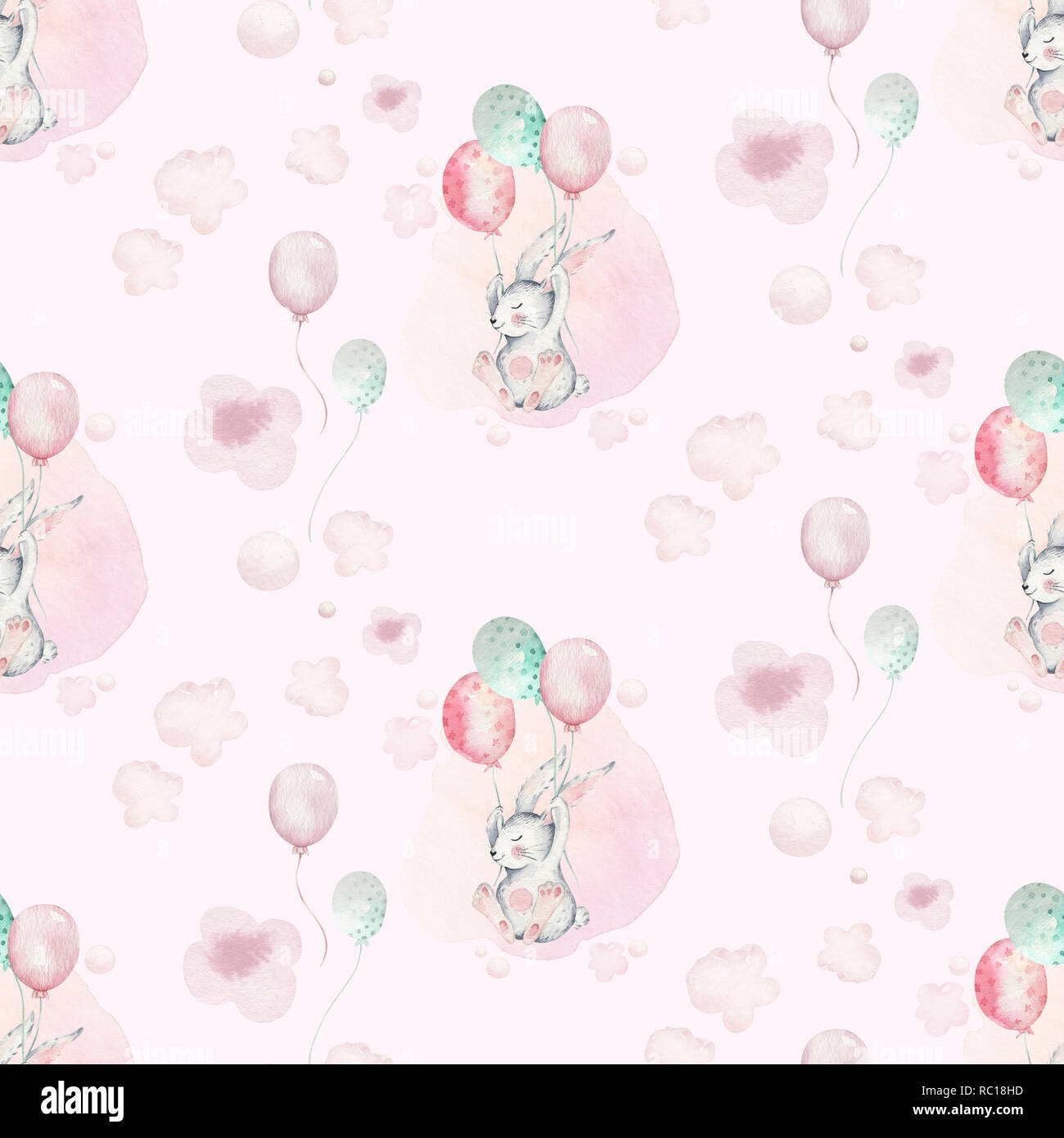 2d11ca644 A watercolor spring illustration of the cute easter baby bunny ...