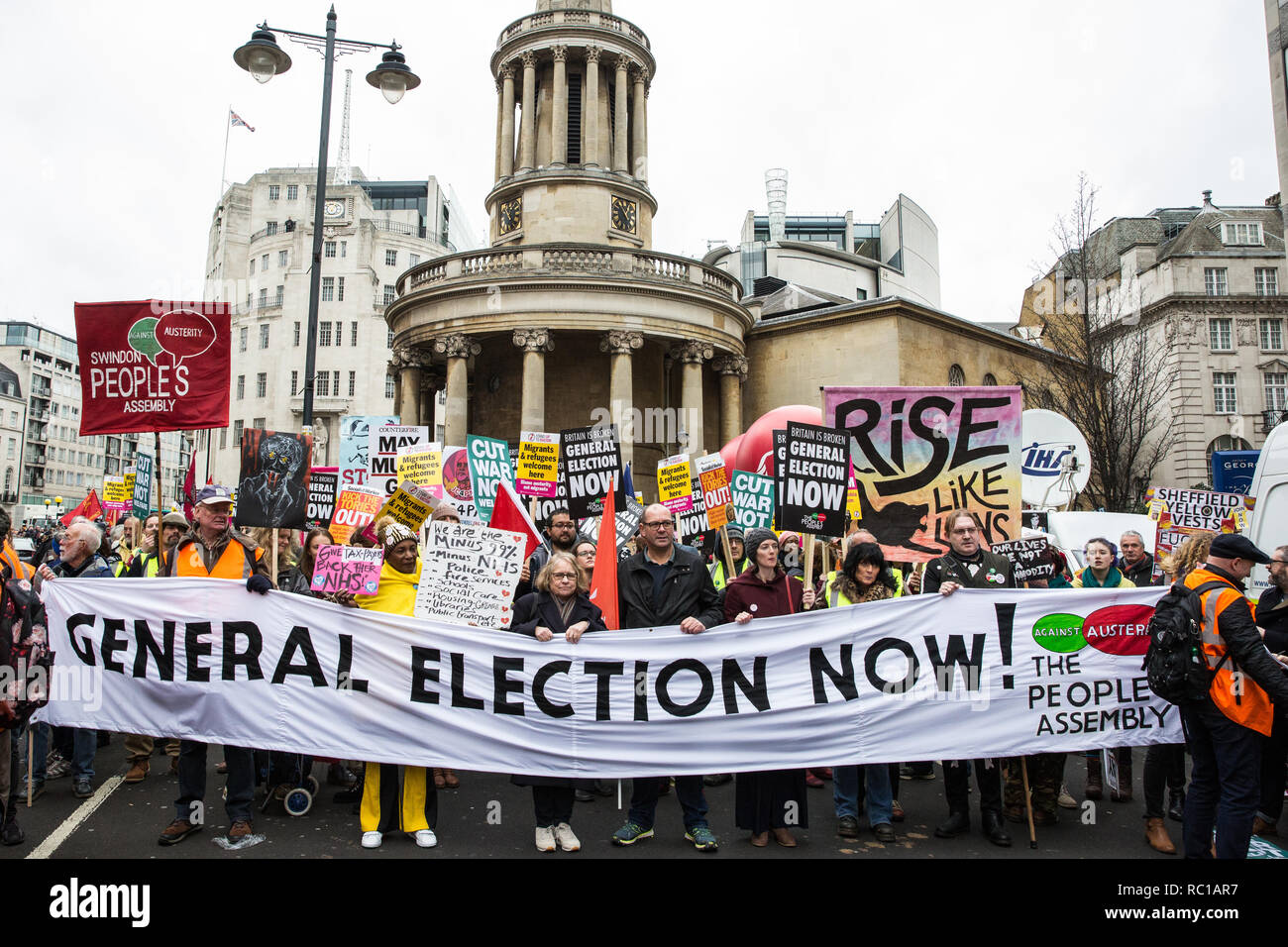 London, UK. 12th January, 2019. Hundreds of protesters take part in a 'Britain is Broken: General Election Now' demonstration organised by the People's Assembly Against Austerity. Organisers argued that the overriding objective of working people in the UK should be to remove the Conservative Government from power through a general election regardless of their vote in the EU referendum. Credit: Mark Kerrison/Alamy Live News - Stock Image