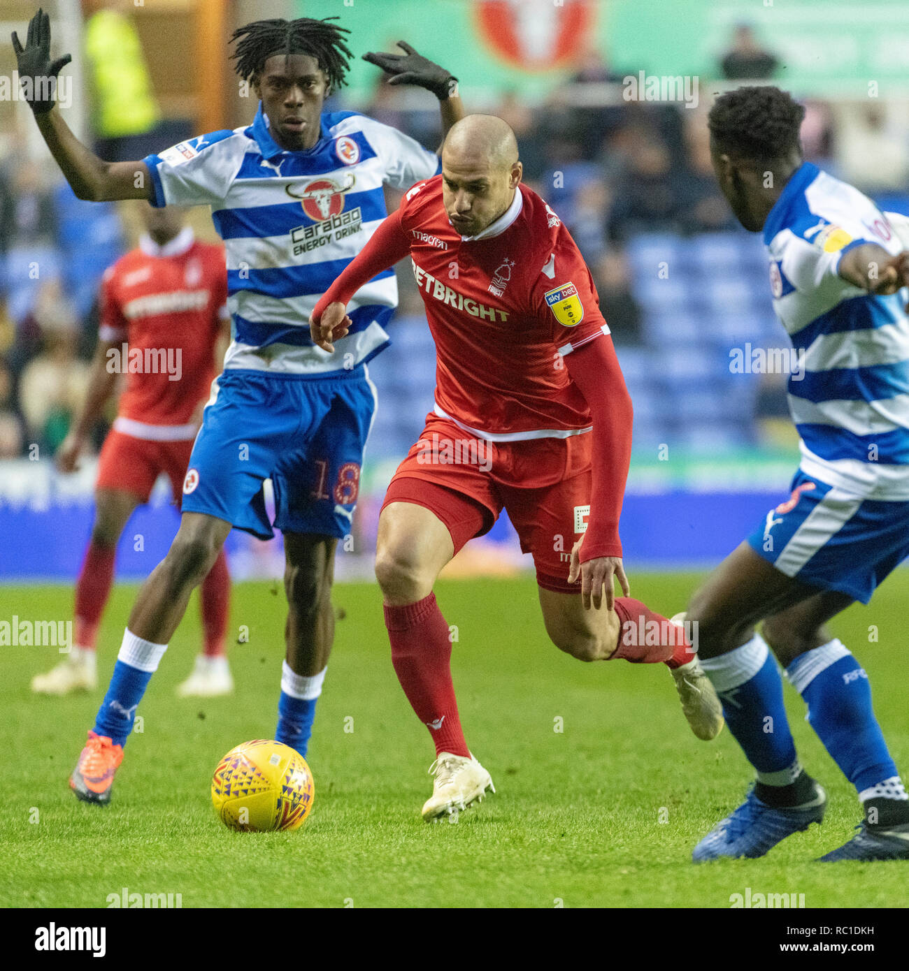 Madjeski Stadium, Reading, UK. 12th January 2019. Football match between Reading and Forest on 12-01-19 at Madjeski Stadium; Reading win 2-0, Forest two players sent off. - Stock Image