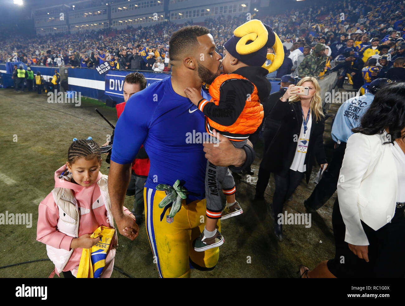 Los Angeles California Usa January 12 2019 Los Angeles Rams Defensive End Aaron Donald 99 Celebrates