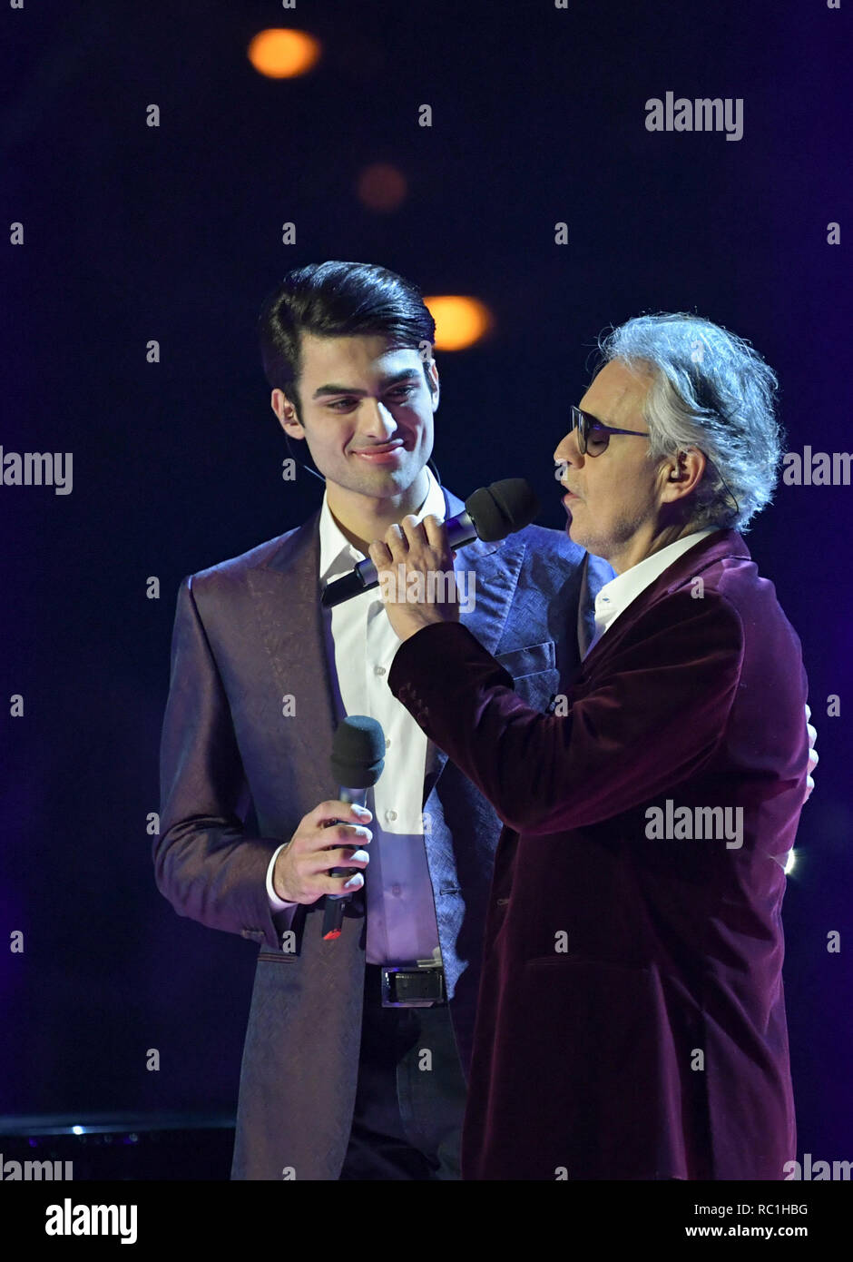 Berlin, Germany. 12th Jan, 2019. Schlagerchampions - The big party of the best, live show in the first. Andrea Bocelli (r) and his son Matteo Bocelli on stage. Credit: Jens Kalaene/dpa-Zentralbild/ZB/dpa/Alamy Live News - Stock Image