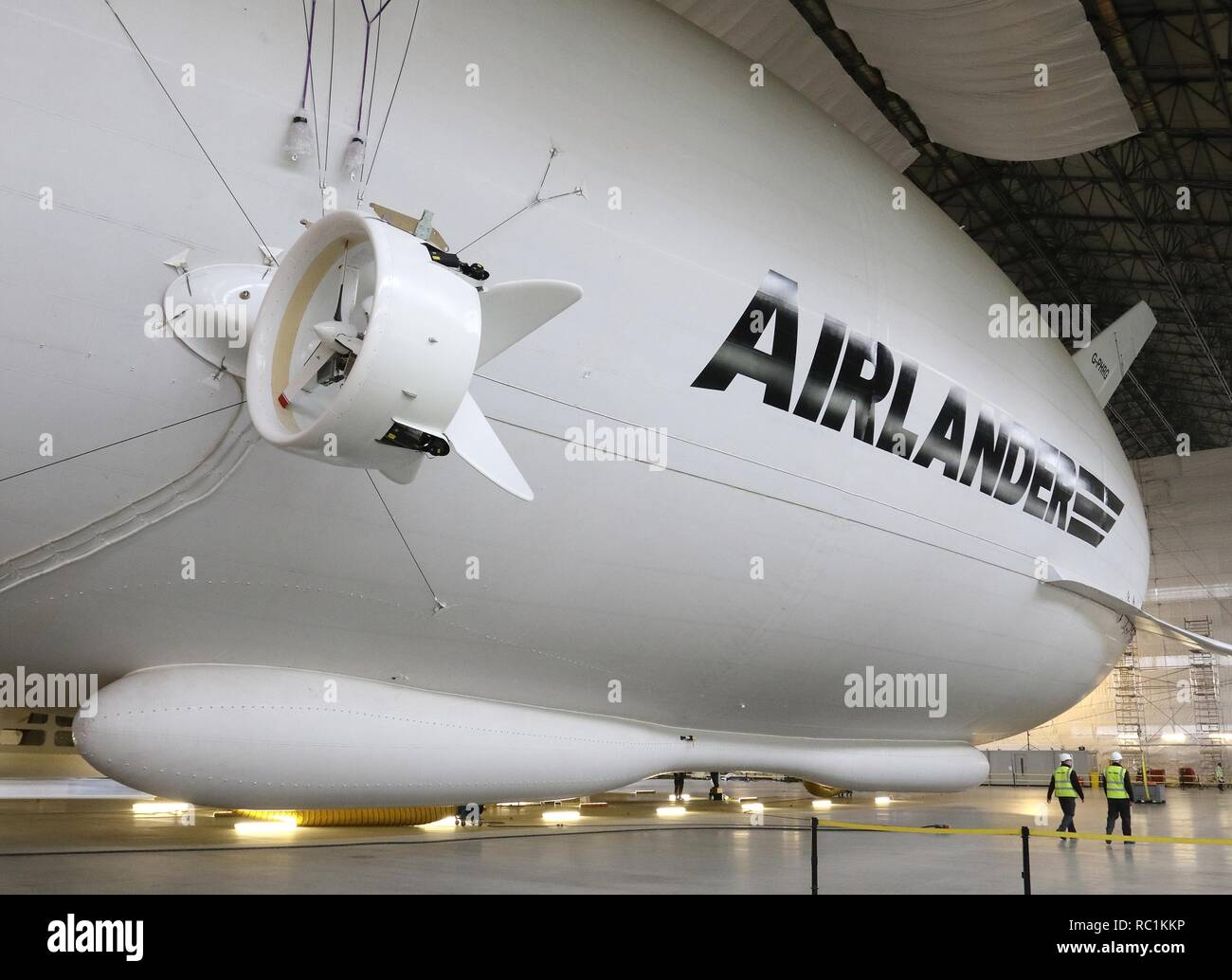United Kingdom. 12th Apr, 2016. View of the Airlander, the longest aircraft in the world.The £32m aircraft - nicknamed ''The Flying Bum'' was originally unveiled to the public at a naming ceremony by HRH The Duke of Kent in April 2016, but a few weeks later it crashed at the end of a test flight. At 92-metre long, the Airlander 10 is the longest aircraft in the world. The world's longest aircraft has been retired from service as developers prepare to start work on a new model. Credit: SOPA Images/ZUMA Wire/Alamy Live News - Stock Image
