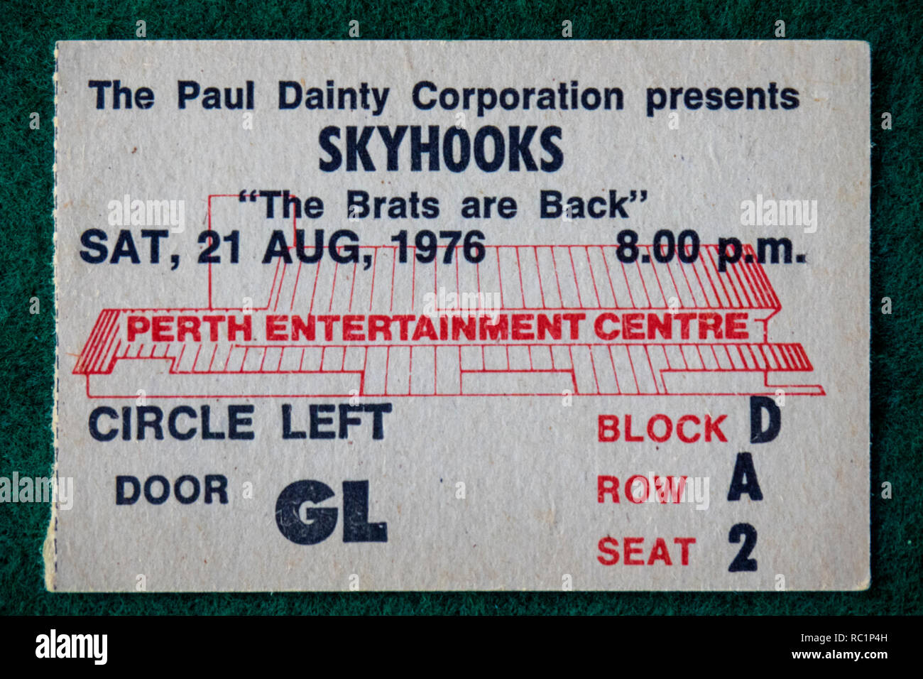 Ticket for Skyhooks concert at Perth Entertainment Centre in 1976 WA Australia. - Stock Image