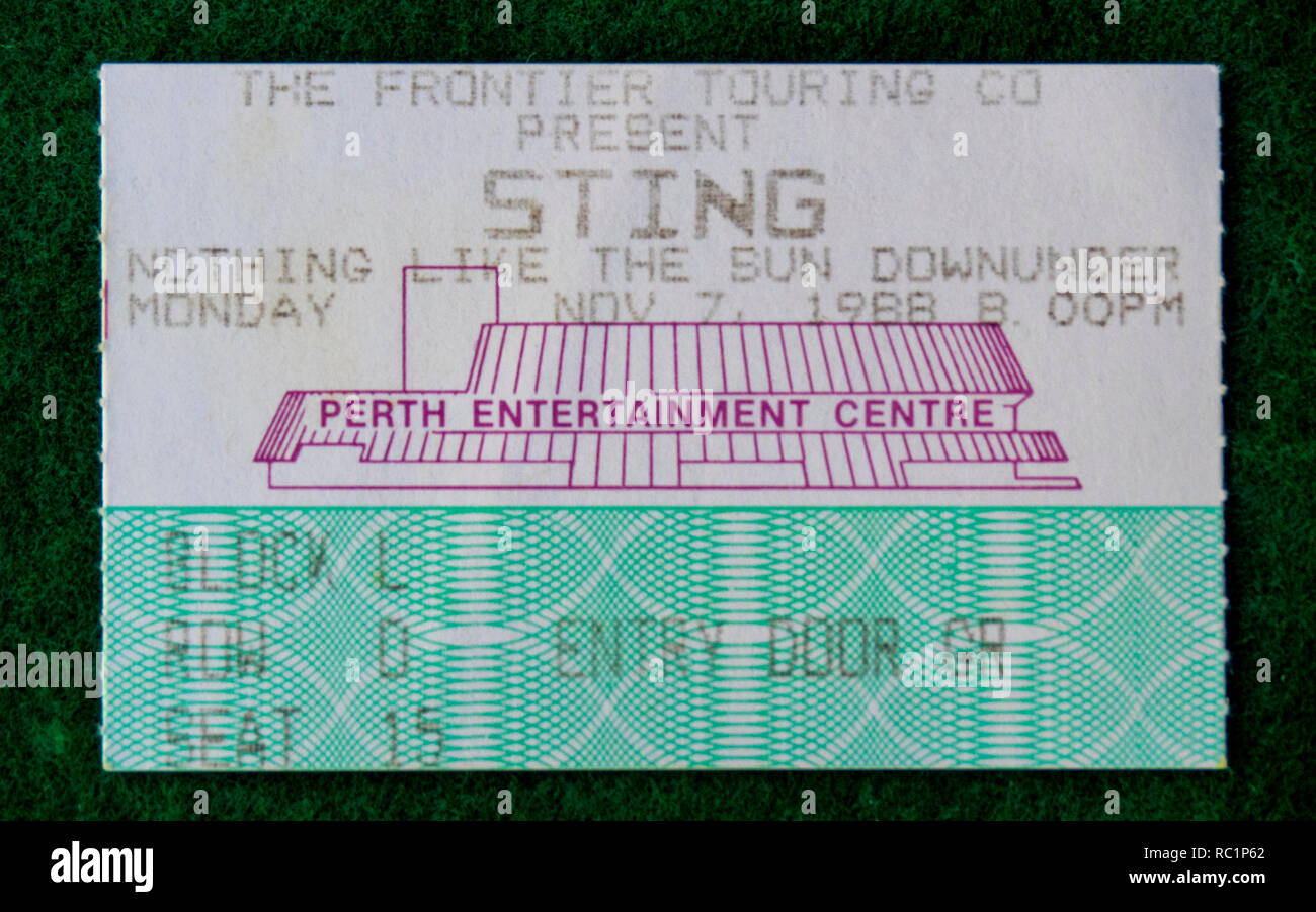 Ticket for Sting concert at Perth Entertainment Centre in 1988 WA Australia. - Stock Image