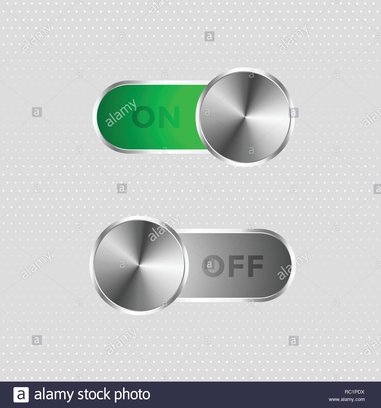 metal toggle switch on and off button - Stock Vector