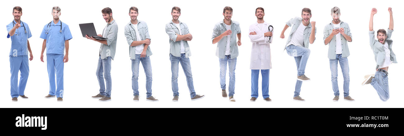 panoramic collage of young people leading a healthy lifestyle Stock Photo