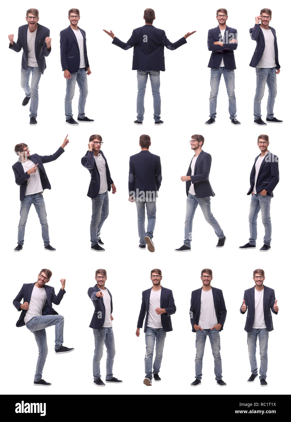 collage of photos of a successful young man Stock Photo