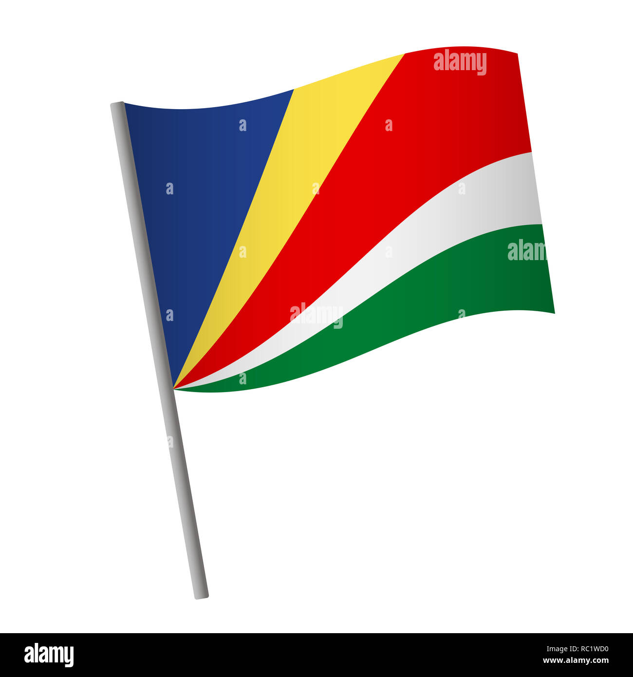 Seychelles flag icon. National flag of Seychelles on a pole  illustration. - Stock Image