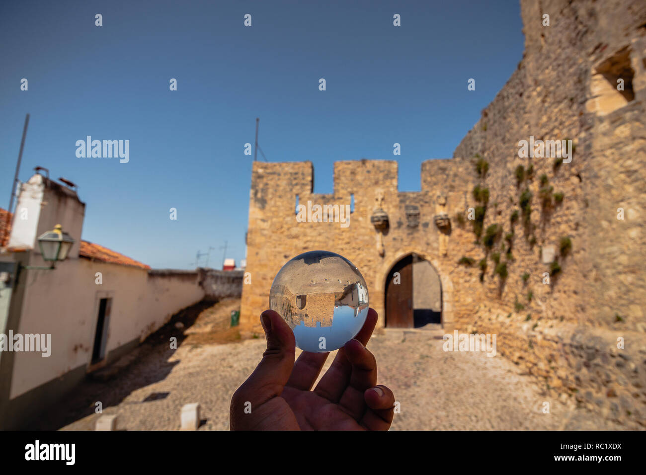 Reflection of the Torres Vedras castle, Portugal - Stock Image