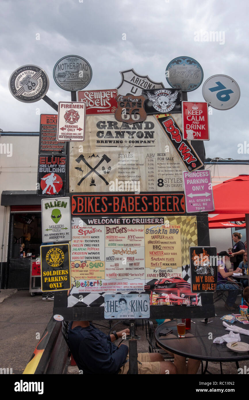 Menu board outside Cruiser's Route 66 Cafe in Williams, known as the gateway to Grand Canyon National Park, in northern Arizona, USA. - Stock Image