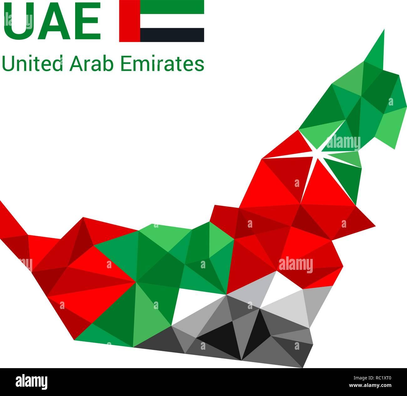 United Arab Emirates flag map in polygonal geometric style. - Stock Image