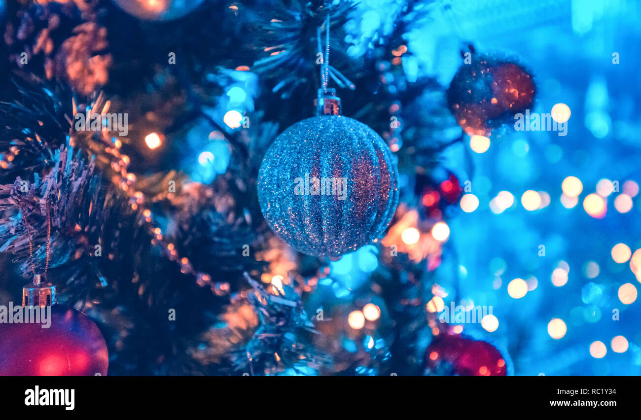 A Christmas tree is a decorated tree, usually an evergreen conifer such as spruce, pine, or fir or an artificial tree of similar appearance Stock Photo
